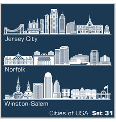 Cities usa - jersey city norfolk winston vector