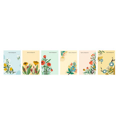 Collection colorful natural spring backgrounds vector