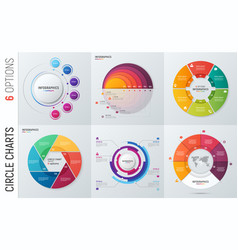 collection of circle chart infographic vector image