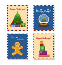 collection of cute merry christmas and happy new vector image