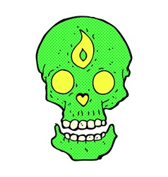 comic cartoon mystic skull vector image