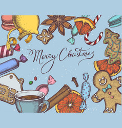 composition with colored gingerbread men vector image