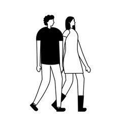 couple holding hands in the city vector image