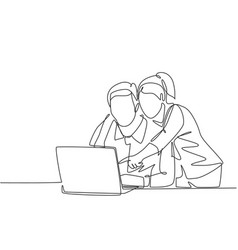 Couple lover worker concept one single line vector