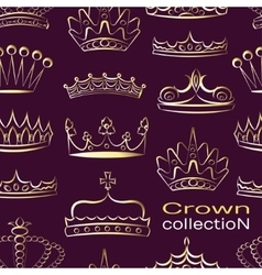 Crown collection pattern vector