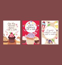 cupcake poster design bakery cake dessert card vector image
