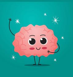 Cute brain character funny human internal organ vector
