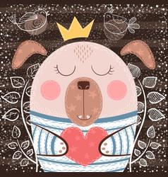 cute cartoon dog - funny vector image