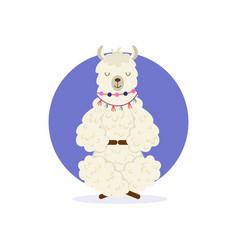 Cute cartoon llama practicing yoga pose vector