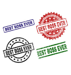 Damaged textured best boss ever seal stamps vector