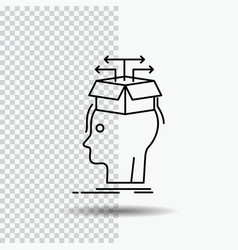 Data extraction head knowledge sharing line icon vector