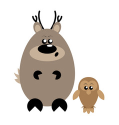 deer and owl surprised vector image
