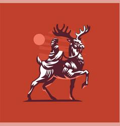 Deer rider vector