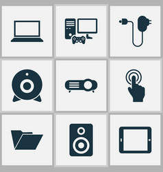 digital icons set includes icons such as laptop vector image