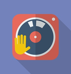 DJ turntable icon Modern Flat style with a long vector