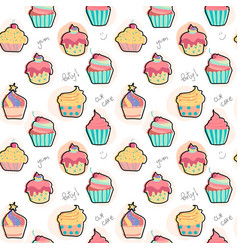 Doodle pastel cupcake pattern seamless background vector