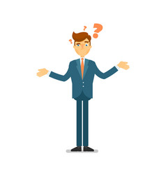 Doubtful businessman asking question character vector