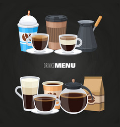drinks menu elements on blackboard - coffee vector image