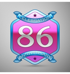 Eighty six years anniversary celebration silver vector