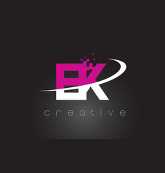 ek e k creative letters design with white pink vector image