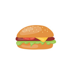 fast food big hamburger icon unhealthy eating vector image