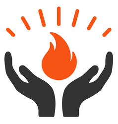 Fire care hands flat icon vector