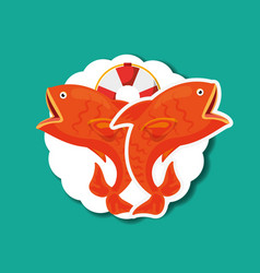 Fishing fish cartoon vector