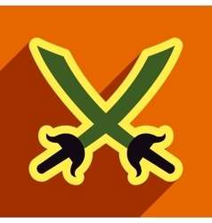 Flat with shadow Icon crossed swords on a colored vector