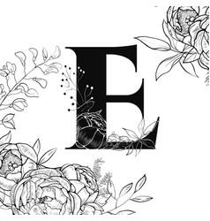 flower alphabet letter e pattern vector image