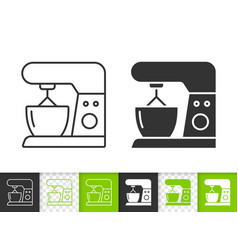 Food processor simple black line icon vector