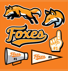 fox sport team mascot set vector image