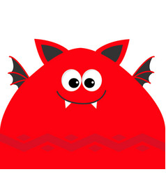 Funny monster head with fang tooth and wings cute vector