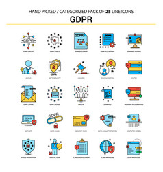 Gdpr flat line icon set - business concept icons vector