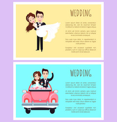 groom and bride wedding invitation love vector image