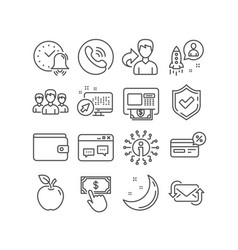 Group alarm bell and startup icons refresh mail vector