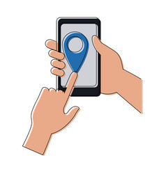 Hands and smartphone with delivery service vector