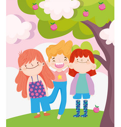 Happy children day little boy and girls with vector