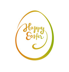 happy easter gradient lettering in an egg shape vector image