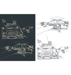 Helicopter main rotor drawings vector
