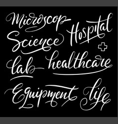 Hospital hand written typography vector