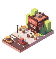 isometric pizzeria building vector image