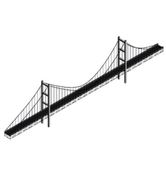 Isometric suspension bridge vector