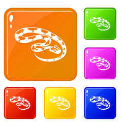 king snake icons set color vector image