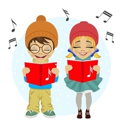 Little boy and girl singing Christmas carols vector