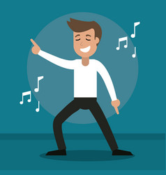 man cheerful dance party vector image