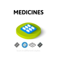 Medicines icon in different style vector