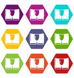 men brief icons set 9 vector image