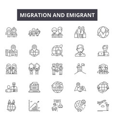 Migration emigrant line icons signs set vector