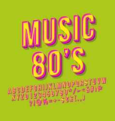 Music 80s 3d lettering vector