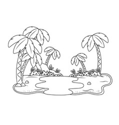 Oasis with palms and lake scenery cartoon in black vector